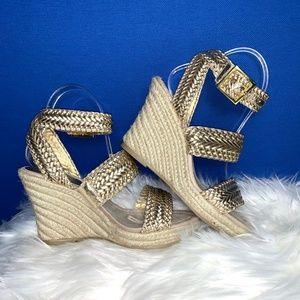 NWOT I•APOSTROPHE•I Gold Espadrilles Sandals
